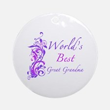 World's Best Great Grandma (Floral) Ornament (Roun