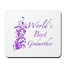 World's Best Godmother (Floral) Mousepad