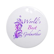 World's Best Godmother (Floral) Ornament (Round)