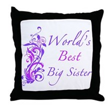 World's Best Big Sister (Floral) Throw Pillow