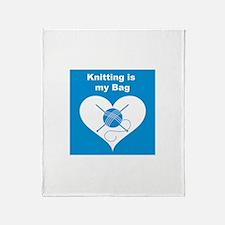 Knitting is MY Bag Throw Blanket
