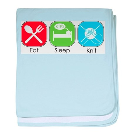 Eat Sleep Knit baby blanket