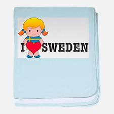 I Love Sweden baby blanket