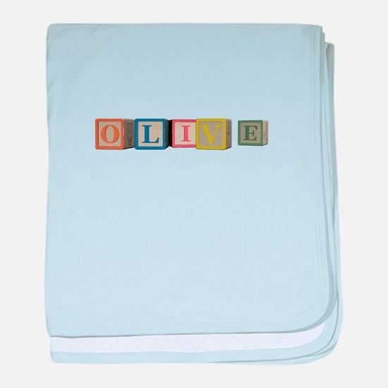 Olive Alphabet Block baby blanket
