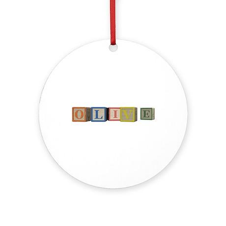 Olive Alphabet Block Ornament (Round)