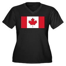 Canadian Flag Women's Plus Size V-Neck Dark T-Shir