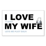 Golfing I love my wife Sticker (Rectangle)