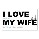 Golfing I love my wife Sticker (Rectangle 50 pk)
