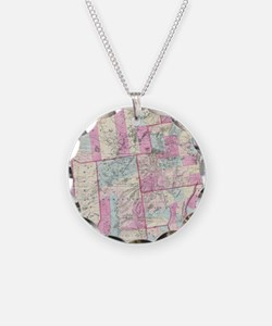 Vintage Map of The Adirondac Necklace