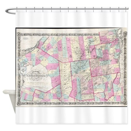 Vintage Map Of The Adirondack Mount Shower Curtain
