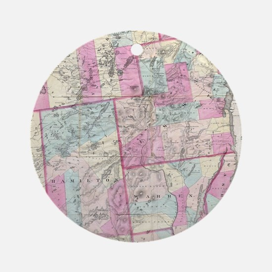 Vintage Map of The Adirondack Mount Round Ornament