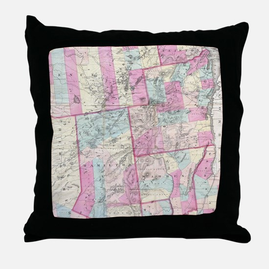 Vintage Map of The Adirondack Mountai Throw Pillow