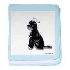 Cute Portuguese water dog baby blanket
