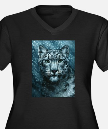 Snow Leopard Women's Plus Size V-Neck Dark T-Shirt
