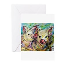 Pig, Couple, Cute, Greeting Cards (Pk of 20)