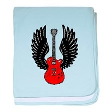 Winged Guitar (red) baby blanket