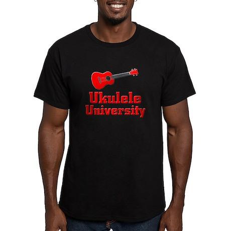 red ukulele Men's Fitted T-Shirt (dark)
