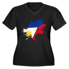 Pinoy Flag Women's Plus Size V-Neck Dark T-Shirt