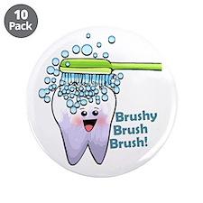 """Brushy Brush Brush 3.5"""" Button (10 pack)"""