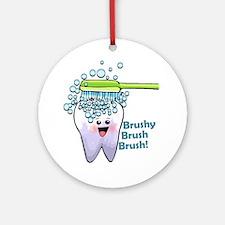 Brushy Brush Brush Ornament (Round)