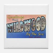 Vintage Wildwood Postcard 1 Tile Coaster