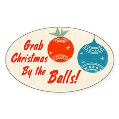 Christmas By the Balls Sticker (Oval 10 pk)