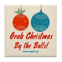 Christmas By the Balls Tile Coaster
