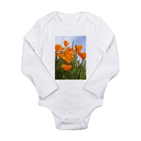 Orange California Poppies Long Sleeve Infant Bodys