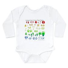 Rainbow 3D Animal Tracks Long Sleeve Infant Bodysu