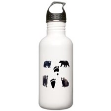 Black Bears and Tracks Water Bottle
