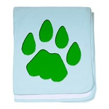 Green Cougar Track baby blanket