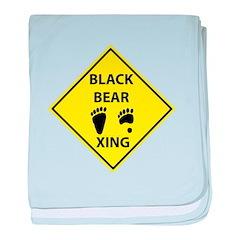 Black Bear Tracks Crossing baby blanket