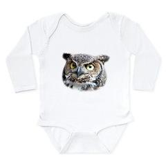 Great Horned Owl Face Long Sleeve Infant Bodysuit