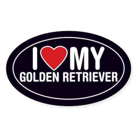 I Love My Golden Retriever Sticker/Decal (Oval)