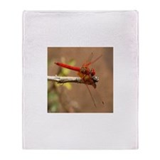 Red Dragonfly Throw Blanket