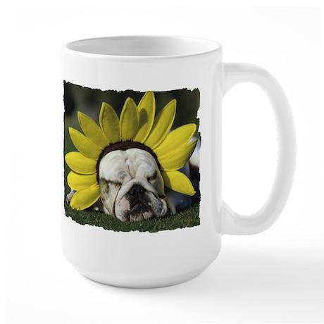 BULLDOG SUNFLOWER Large Mug