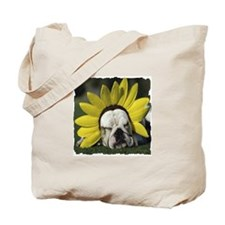 BULLDOG SUNFLOWER Tote Bag