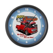 Dad's Garage Large Wall Clock
