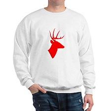 Bright Red Deer Silhouette Sweatshirt