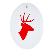 Bright Red Deer Silhouette Ornament (Oval)