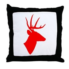 Bright Red Deer Silhouette Throw Pillow