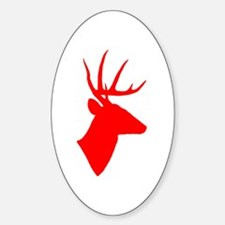 Bright Red Deer Silhouette Sticker (Oval)