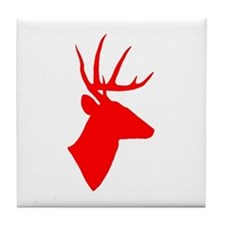 Bright Red Deer Silhouette Tile Coaster