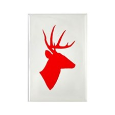 Bright Red Deer Silhouette Rectangle Magnet