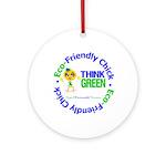 Eco-Chick Go Green Ornament (Round)