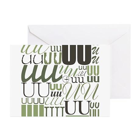 UU Typography (Sage) Greeting Cards (Pk of 10)
