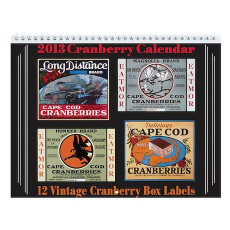 Vintage Cranberry Label Wall Calendar