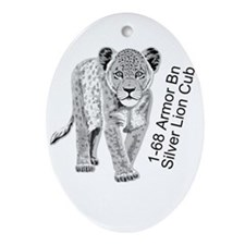 Silver Lion Cub Ornament (Oval)