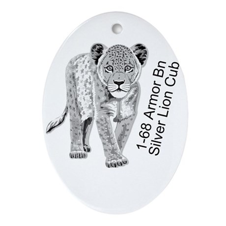 Silver Lion Cub Ornament (Oval)