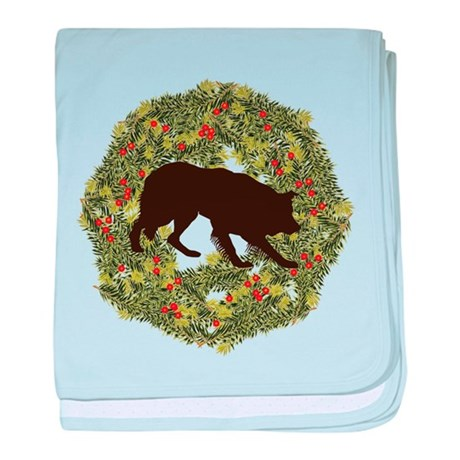 Border Collie Xmas Wreath baby blanket
